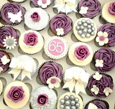 Purple and silver themed 65th birthday cupcakes | Flickr - Photo Sharing! This colour would look fab at a wedding too.