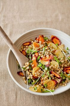 This simple salad is very healthful and high in fiber. Wheat berries are whole kernels of wheat, and their mild flavor lets this savory Asian-inspired dressing shine. Carrots and snow peas mark thi...