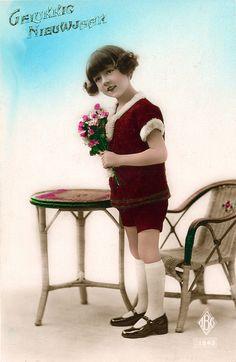 gelukkig nieuwjaar vintage postcard, printed in france,