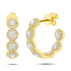 14k Yellow Gold White Gold Created Diamond Huggie Hoop Earrings 0.30Ct