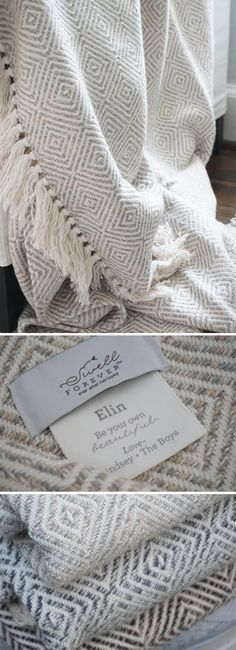 The Alpaca Forever Blanket {throw} Collection from Swell Forever. American Made with unique personalized message tags. Comes in 5 colorways. Diamond pattern throws perfect for wedding, bridesmaid, mother of the groom, mother of the bride, inlaw, housewarming, corporate, birthday, best friend gifting. Your gift supports adoption. Cream, Grey, Brown, Grey.
