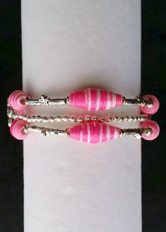 Bright Pink and Silver Paper Bead Bracelet by RevivedRemnants
