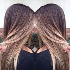 Ash blonde ombré on long hair
