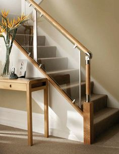 S-Vision Glass Balustrade System Oak Handrails - Stair Banister Stairs Design Uk, House Design Photos, Small House Design, Iron Stair Railing, Staircase Railings, Modern Staircase, Banisters, Stairways, Indoor Railing