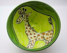 Majolica Clay Pottery Bowl Yellow Giraffe by ClayLickCreekPottery, $ 30.00