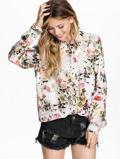 Grey Long Sleeve Floral Print Blouse - Sheinside.com