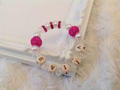 Personalized beaded bracelet, Personalized jewellery, Beaded name bracelet bangle, Personalized bangle, Beaded jewellery Handmade rose pink by AwesomeBabiesShop on Etsy