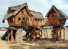 Tree Houses from Daniels Wood Land. Always wanted a tree house. Love these, even though they are not actually in trees.