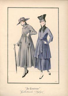 [De Gracieuse] No. 1. Namiddagjapon van muiskleurige wollen voile. No. 2. Tailleurkostuum van tricotine (April 1917)