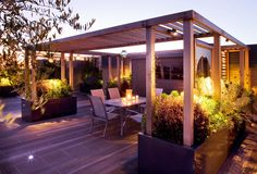 Large Roof Garden in Hampstead 10 Charlotte Rowe Copyright Clive Nichols Gazebo Pergola, Wooden Pergola, Patio Roof, Landscape Design, Garden Design, Gazebos, Tiered Garden, Modern Roofing, Outdoor Living Rooms