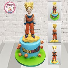 Tarta Goku. Horneando Ideas. www.horneandoideas.com Goku, Pokemon, Birthday Cake, Cakes, Desserts, Ideas, Creativity, Pies, Tailgate Desserts
