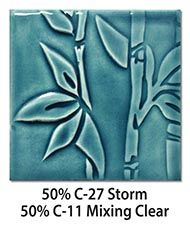 Amaco glazes mixing info.  Tile glazed with a mix of 50-percent C-27 Storm plus 50-percent C-11 Mixing Clear