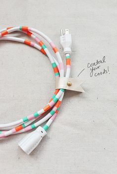 Washi tape cords, great DIY and a nice way to tell which card is mine!