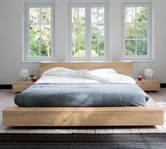 The Ethnicraft Oak Madra Queen Size Bed is made from sustainable solid European Oak timber, is available in King Size and Queen Size with slats provided. The be