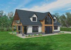 20 ideas for house architecture scandinavian home House Plans Uk, Bungalow Conversion, Dormer Bungalow, Dormer House, Gable House, Bungalow Extensions, Self Build Houses, Bungalow Renovation, Bungalow Ideas
