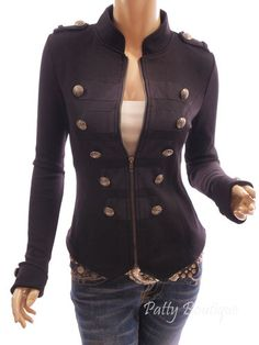 Patty Women Smart Black Zip Up Front Long Sleeve Stand Collar Military Style Light Jacket. I love military style. Pretty Outfits, Cute Outfits, Coats For Women, Jackets For Women, Blazer Jacket, Leather Jacket, Band Jacket, Military Style Jackets, Black Zip Ups