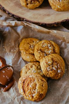 Soft pumpkin cookies with a caramel swirl, topped with flaky sea salt.