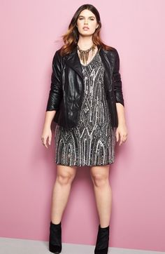 Sejour Leather Jacket & Adrianna Papell Beaded Cocktail Dress (Plus Size)  available at #Nordstrom