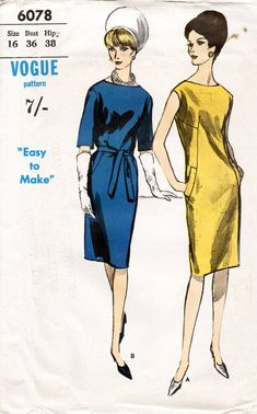 1960s Elegant Shift Dress Pattern Vogue 6078 Vintage Sewing Pattern Knee Length Dress with Bateau Neckline Easy To Make Bust 36