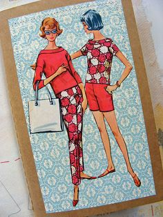 vintage images sewn to cover of notebook. Bought this from jane's apron