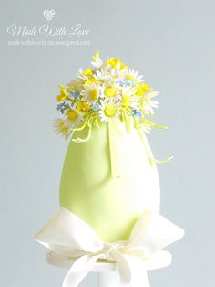 Daisies and Buttercups Easter Egg Cake - Cake by Pamela McCaffrey Easter Egg Cake, Easter Cookies, Easter Bunny, White Chocolate Ganache, Easter Chocolate, Egg Crafts, Easter Crafts, Chocolates, Single Tier Cake