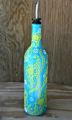Hey, I found this really awesome Etsy listing at https://www.etsy.com/listing/151278801/olive-oil-bottle-turquoise-and-sunny