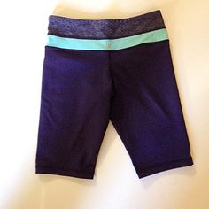Lululemon reversible long bike shorts Two sided Lululemon one being plum with a sweat band design at the top, the other is a solid plum. Like new no signs of wear! Size 4 tall lululemon athletica Pants Capris