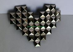 Cute Silver Heart Clip - Punk Rock, Studded, Rocker Chic, Glam Rock, Rocker Style, Geeky, Pixel, Nerdy, Cool, Shiny via Etsy