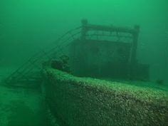 Great Lakes, Michigan One of the shipwrecks sitting on the bottom of the Lake.