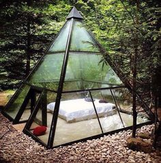 Glamping tent in form of a glass pyramide in France Design Exterior, Interior And Exterior, Room Interior, Outdoor Spaces, Outdoor Living, Outdoor Bedroom, Outdoor Gear, Future House, Gazebo