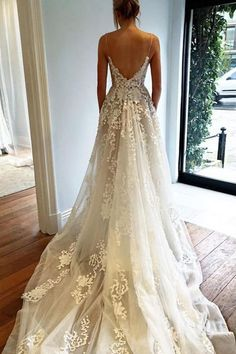 Sexy Open Back Spaghetti Straps V-neck Beach Wedding Dresses with Sweep Train, PW135