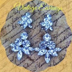 "Beautiful Vintage Rhinestone Drop Earrings.  Very glamorous large vintage clip on rhinestone earrings. In beautiful vintage condition, no dark or missing stones. Unsigned but high quality. Measure 3"" long! Perfect for an evening occasion! Jewelry Earrings"