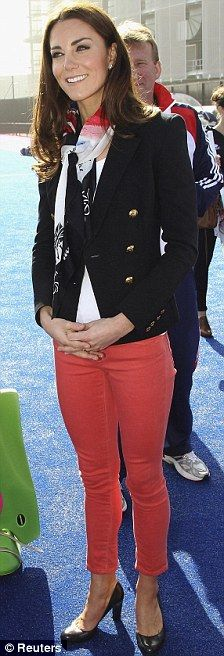 Attention StitchFix. I very much like Kate Middleton's style. Preppy!    Coral jean, navy blazer, scarf, blue heels