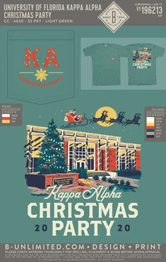 Kappa Alpha Order Christmas Party Shirt | Fraternity Event | Greek Event #kappaalphaorder #kappaalpha #theorder Kappa Alpha Order, University Of Florida, Social Events, Fraternity, All Design, Greek, Holidays, Party, Artwork