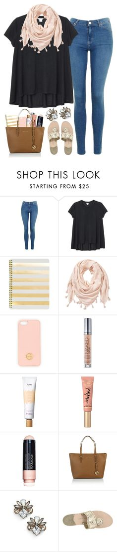 """""""{I honestly have no inspiration whatsoever}"""" by preppy-southern-girl-1-2-3 ❤ liked on Polyvore featuring Topshop, Monki, Sugar Paper, Tory Burch, Urban Decay, tarte, Too Faced Cosmetics, Smashbox, Michael Kors and BaubleBar"""