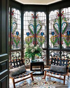 Conservatory with stained glass windows