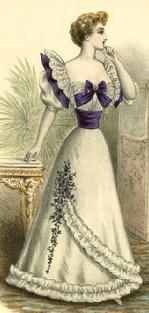 1894. Love this dress with the wraparound trim and flowers.