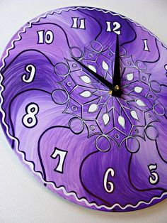 This clock features my original, psychedelic mandala design, hand painted using high quality acrylics in shades of purple and white. The design is outlined with violet and white over black. It is made from an upcycled 12 vinyl LP record. Purple Home, Purple Lilac, Shades Of Purple, Deep Purple, Purple Glass, Pink Lila, Color Lila, Mandala Design, Purple Kitchen