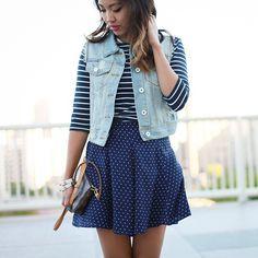 denim vest, striped top, polka dots skirt