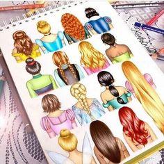 Disney hair drawn by the amazing Kristina Webb - Zeichnung Disney Pixar, Walt Disney, Disney Amor, Disney E Dreamworks, Cute Disney, Disney Magic, Disney Movies, Disney Characters, Disney Girls