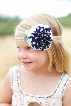Nautical 4th of July dotted navy chiffon felt flower baby headband