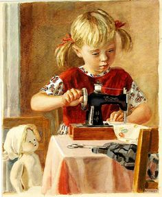 little girl sewing for her doll