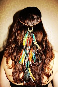 April Fire Feathers fashion hair dreamcatcher hippy boho feathers clip hairstyle