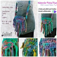 Watercolor Festival Bag free crochet pattern... hold all a girl could ever need  FREE pattern by lovin.each.stitch exclusively on Cre8tion C...