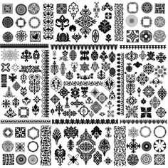 Black and white floral frames vector - FreeDesignFile.com