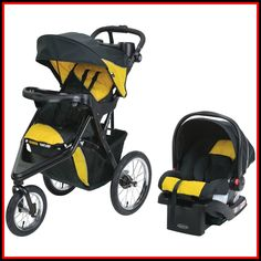 Graco Trax Jogger Click Connect Stroller Travel System, with SnugRide Click Connect 30 Infant Car Seat, Gold with Nuk Simply Natural Bottle, Black Travel Stroller, Jogging Stroller, Funda Sofa Chaise Longue, Chaise Sofa, Sofa Chair, Travel Systems For Baby, Baby Shower, Shower Cake, Traveling With Baby