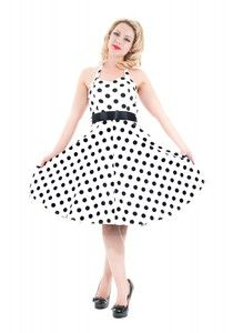 H&R London 50's White Big Black Dot Cocktail Halter Dress