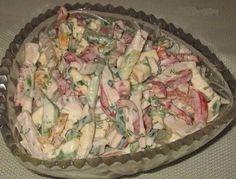 Paprikas salāti ar šķiņķi, gurķiem un kūpinātu sieru Asparagus, Potato Salad, Cabbage, Food And Drink, Cooking Recipes, Dishes, Chicken, Vegetables, Ethnic Recipes