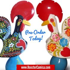 Galo de Barcelos - Rooster Camisa is now selling Portuguese imported ceramic Roosters from Barcelos Portugal. Pre-Order yours today, just in time for the Holidays!  www.RoosterCamisa.com