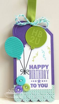 Birthday Tag with balloons - Cards and Paper Crafts at Splitcoaststampers Birthday Tags, Happy Birthday Cards, Birthday Greetings, Birthday Quotes, Birthday Ideas, Birthday Gifts, Handmade Gift Tags, Greeting Cards Handmade, Paper Tags